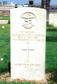 William Miller's body was found floating in Misurata harbour on about 28th December 1941 - some 90 miles East of where they abandoned ship. He could well have been on the raft with Norman Walton